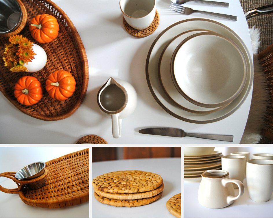 organic modern tablesetting vintage table vintage thanksgiving