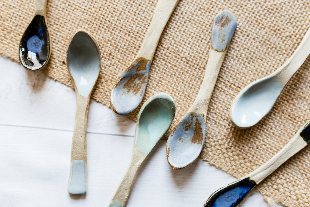 Handbuilt Spoons - Made with the basic kit listed above...(with the addition of glazes of course.)