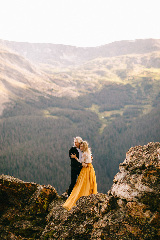 Liz Osban Photography Rocky Mountain National Park Trail Ridge Road Sweet Carolina Styles Skirt Marigold Yellow Cole Janzen Kelli Mantooth Mountains Colorado Northern Estes Park Alpine Elopement Wedding Destination Adventure LBGT Engaged10.jpg