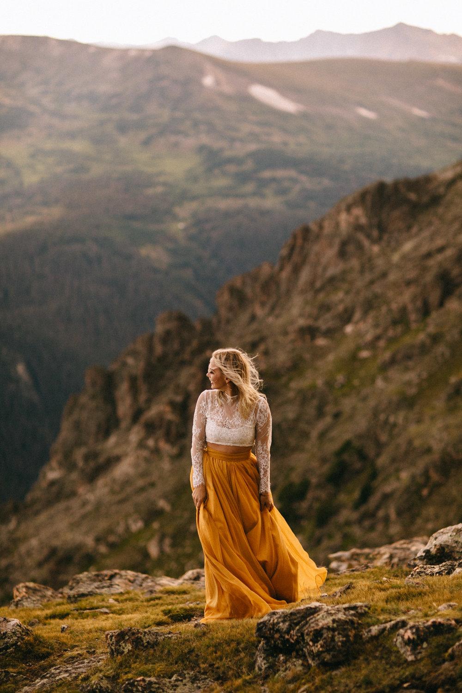 Liz Osban Photography Rocky Mountain National Park Trail Ridge Road Sweet Carolina Styles Skirt Marigold Yellow Cole Janzen Kelli Mantooth Mountains Colorado Northern Estes Park Alpine Elopement Wedding Destination Adventure LBGT Engaged11.jpg