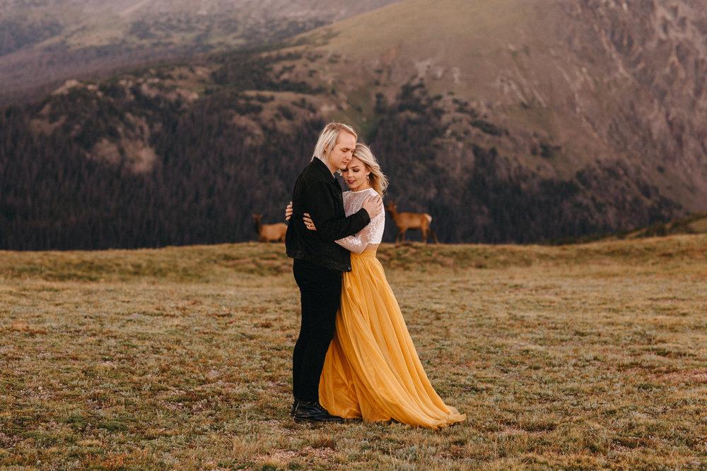 Liz Osban Photography Rocky Mountain National Park Trail Ridge Road Sweet Carolina Styles Skirt Marigold Yellow Cole Janzen Kelli Mantooth Mountains Colorado Northern Estes Park Alpine Elopement Wedding Destination Adventure LBGT Engaged28.jpg
