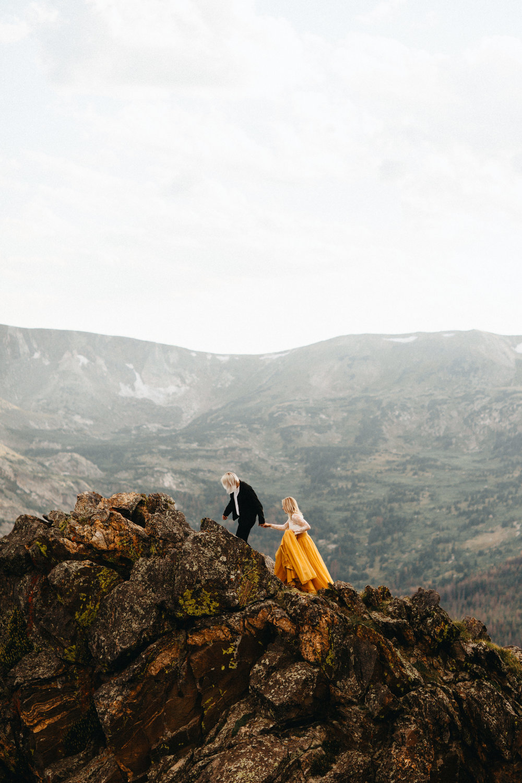 Liz Osban Photography Rocky Mountain National Park Trail Ridge Road Sweet Carolina Styles Skirt Marigold Yellow Cole Janzen Kelli Mantooth Mountains Colorado Northern Estes Park Alpine Elopement Wedding Destination Adventure LBGT Engaged36.jpg