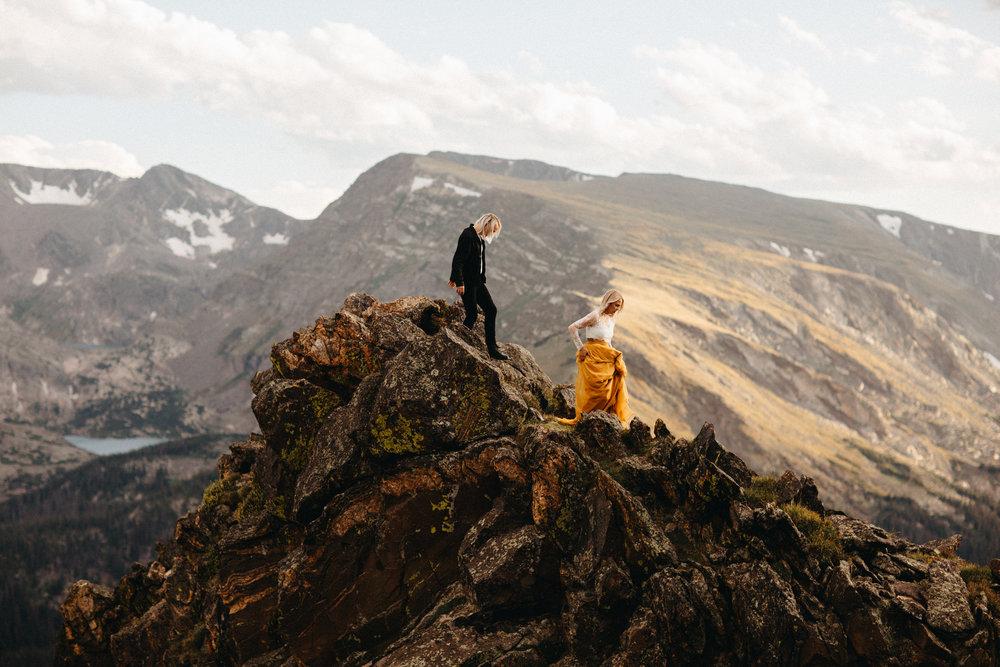 Liz Osban Photography Rocky Mountain National Park Trail Ridge Road Sweet Carolina Styles Skirt Marigold Yellow Cole Janzen Kelli Mantooth Mountains Colorado Northern Estes Park Alpine Elopement Wedding Destination Adventure LBGT Engaged38.jpg