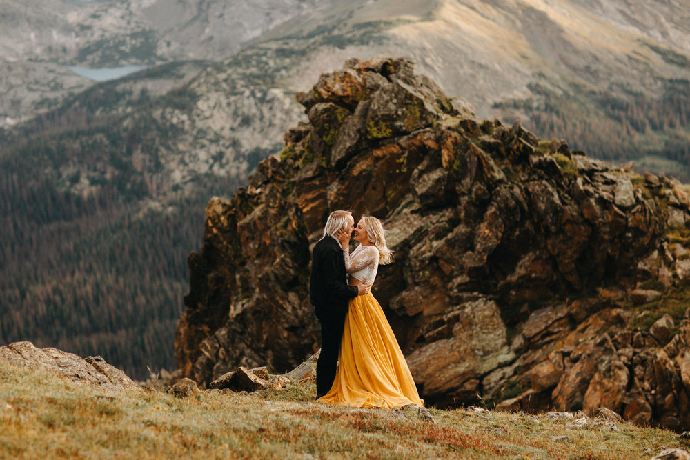 Liz Osban Photography Rocky Mountain National Park Trail Ridge Road Sweet Carolina Styles Skirt Marigold Yellow Cole Janzen Kelli Mantooth Mountains Colorado Northern Estes Park Alpine Elopement Wedding Destination Adventure LBGT Engaged39.jpg
