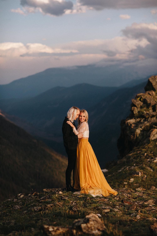 Liz Osban Photography Rocky Mountain National Park Trail Ridge Road Sweet Carolina Styles Skirt Marigold Yellow Cole Janzen Kelli Mantooth Mountains Colorado Northern Estes Park Alpine Elopement Wedding Destination Adventure LBGT Engaged43.jpg