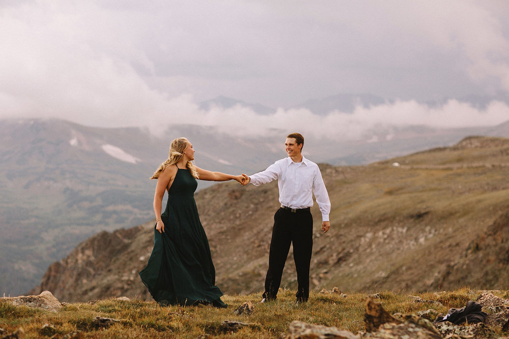 Rocky Mountain Engagement National Park Engaged Photos Wedding Elopement Portrait Mountains Trail Ridge Rd Peak Alpine Dress Lulus Rules Permit Photo Adventure Love Couples Destination Liz Osban photography Cheyenne Wyoming7.jpg