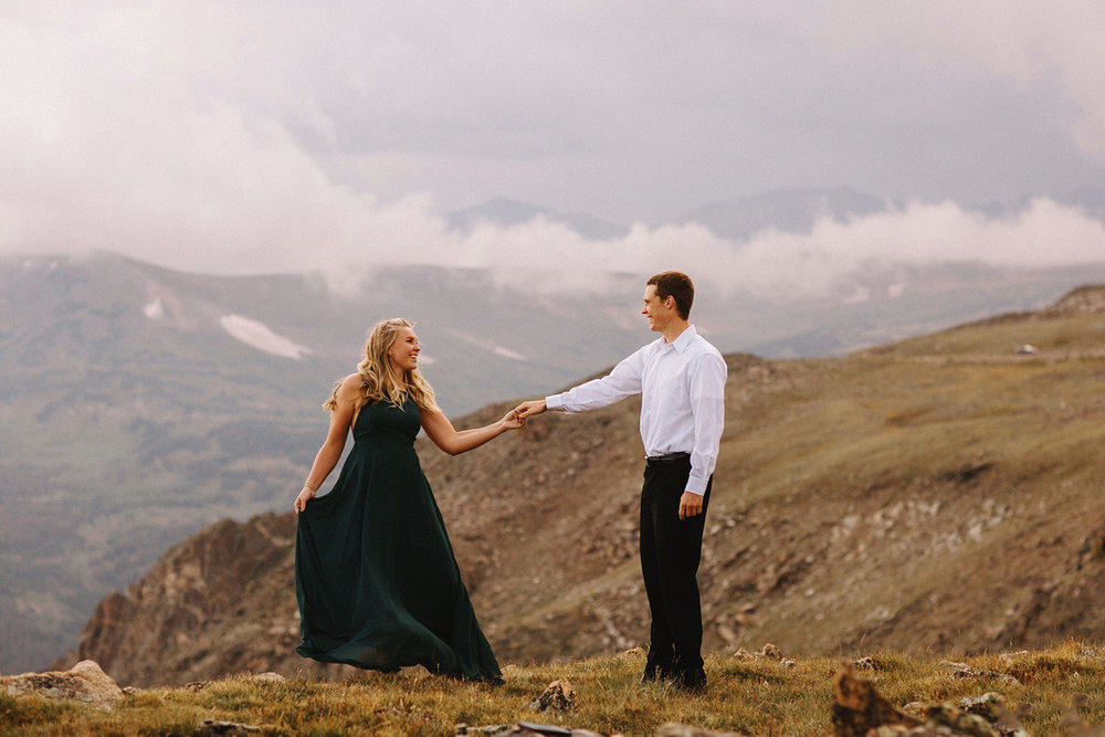 Rocky Mountain Engagement National Park Engaged Photos Wedding Elopement Portrait Mountains Trail Ridge Rd Peak Alpine Dress Lulus Rules Permit Photo Adventure Love Couples Destination Liz Osban photography Cheyenne Wyoming8.jpg