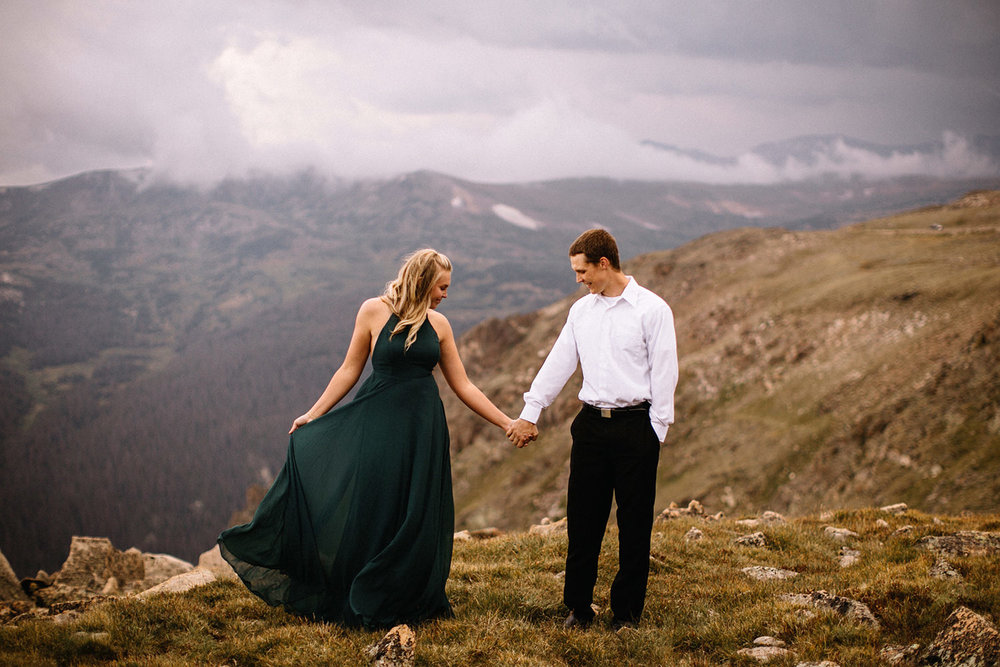 Rocky Mountain Engagement National Park Engaged Photos Wedding Elopement Portrait Mountains Trail Ridge Rd Peak Alpine Dress Lulus Rules Permit Photo Adventure Love Couples Destination Liz Osban photography Cheyenne Wyoming15.jpg