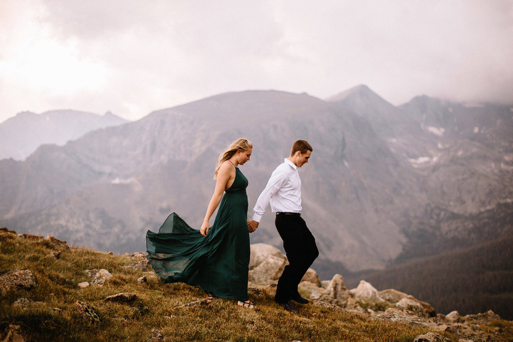 Rocky Mountain Engagement National Park Engaged Photos Wedding Elopement Portrait Mountains Trail Ridge Rd Peak Alpine Dress Lulus Rules Permit Photo Adventure Love Couples Destination Liz Osban photography Cheyenne Wyoming19.jpg