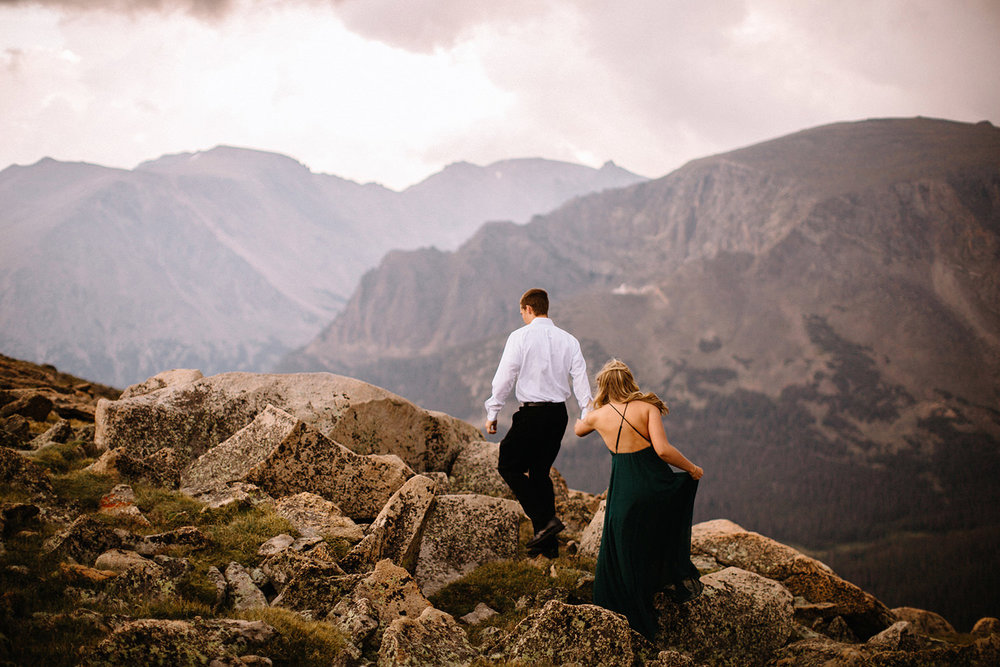 Rocky Mountain Engagement National Park Engaged Photos Wedding Elopement Portrait Mountains Trail Ridge Rd Peak Alpine Dress Lulus Rules Permit Photo Adventure Love Couples Destination Liz Osban photography Cheyenne Wyoming20.jpg