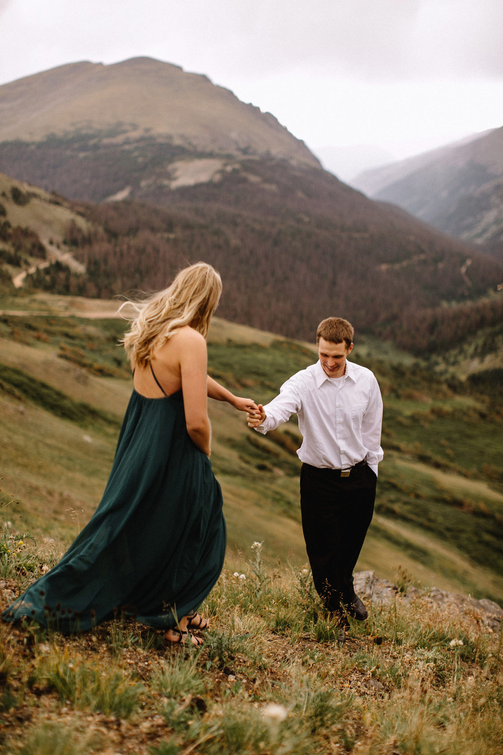 Rocky Mountain Engagement National Park Engaged Photos Wedding Elopement Portrait Mountains Trail Ridge Rd Peak Alpine Dress Lulus Rules Permit Photo Adventure Love Couples Destination Liz Osban photography Cheyenne Wyoming23.jpg