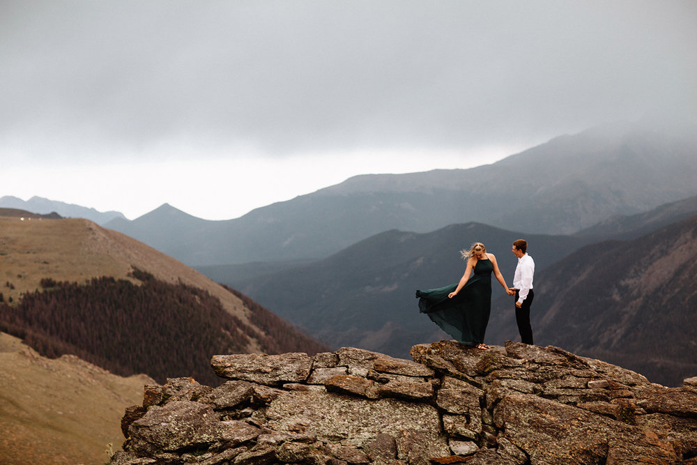 Rocky Mountain Engagement National Park Engaged Photos Wedding Elopement Portrait Mountains Trail Ridge Rd Peak Alpine Dress Lulus Rules Permit Photo Adventure Love Couples Destination Liz Osban photography Cheyenne Wyoming25.jpg