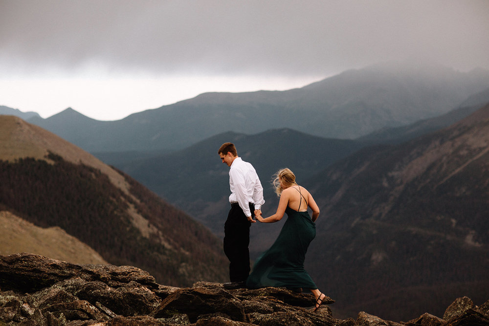 Rocky Mountain Engagement National Park Engaged Photos Wedding Elopement Portrait Mountains Trail Ridge Rd Peak Alpine Dress Lulus Rules Permit Photo Adventure Love Couples Destination Liz Osban photography Cheyenne Wyoming27.jpg