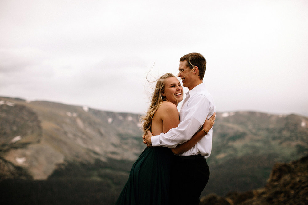 Rocky Mountain Engagement National Park Engaged Photos Wedding Elopement Portrait Mountains Trail Ridge Rd Peak Alpine Dress Lulus Rules Permit Photo Adventure Love Couples Destination Liz Osban photography Cheyenne Wyoming29.jpg
