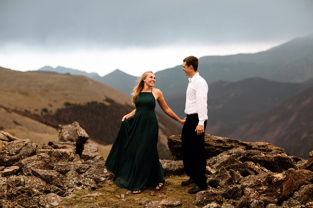 Rocky Mountain Engagement National Park Engaged Photos Wedding Elopement Portrait Mountains Trail Ridge Rd Peak Alpine Dress Lulus Rules Permit Photo Adventure Love Couples Destination Liz Osban photography Cheyenne Wyoming30.jpg