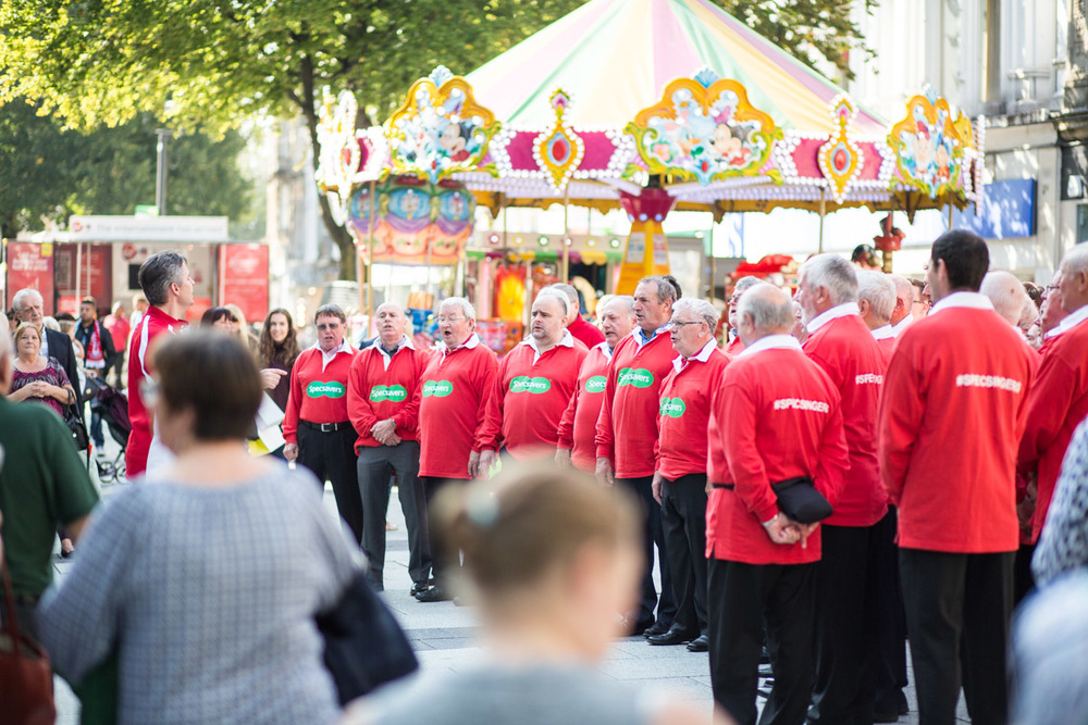 A Male voice Choir in Cardiff Queen St