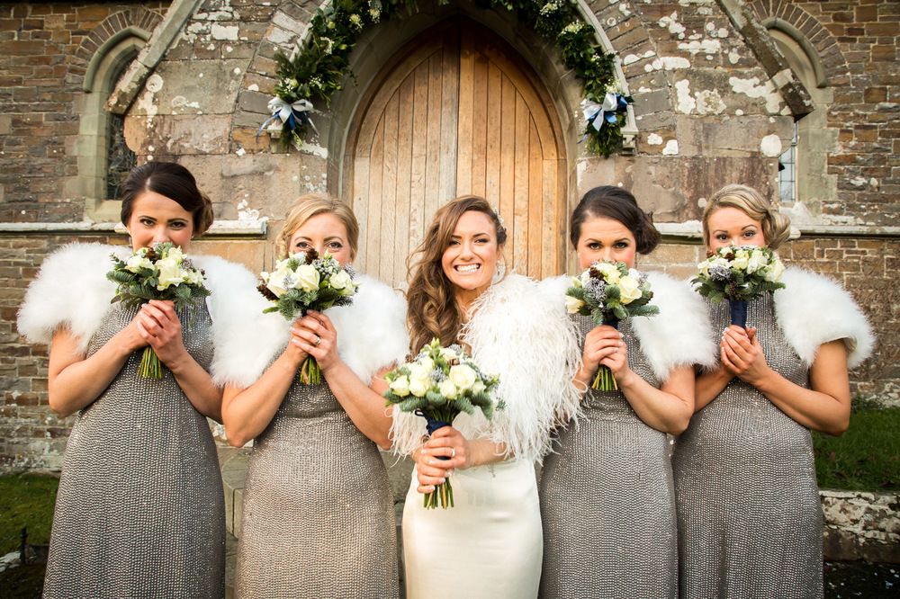 The bridal party outside the Church, This West Wales Wedding was amazing