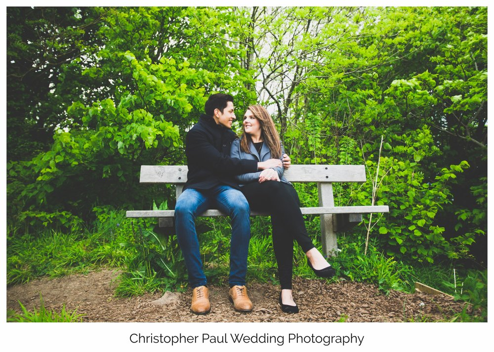 Kelsey and Lloyd back at the bench that they got engaged on in Southerndown South Wales