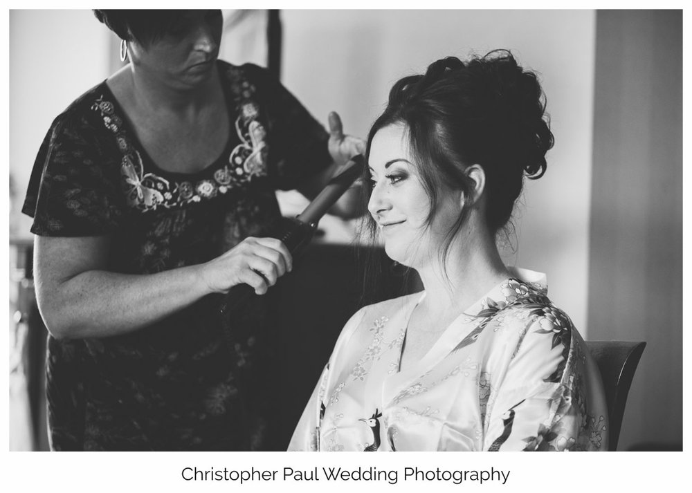 Black and White Wedding photography of a welsh bride