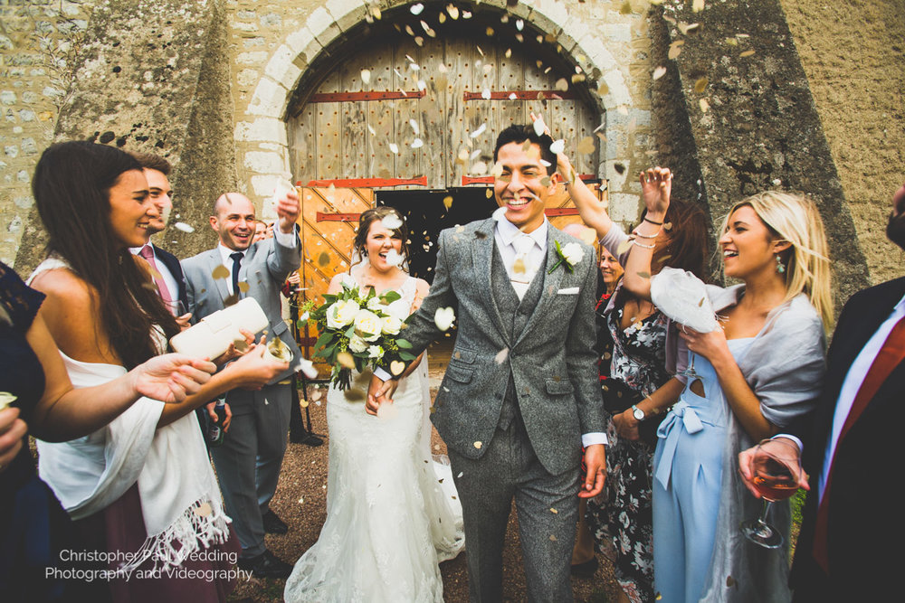Wedding photographers take a confetti shot in south wales