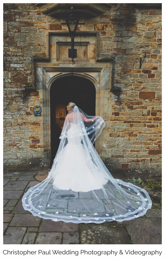 A huge wedding dress outside Bryngarw House -South Wales Wedding Venue