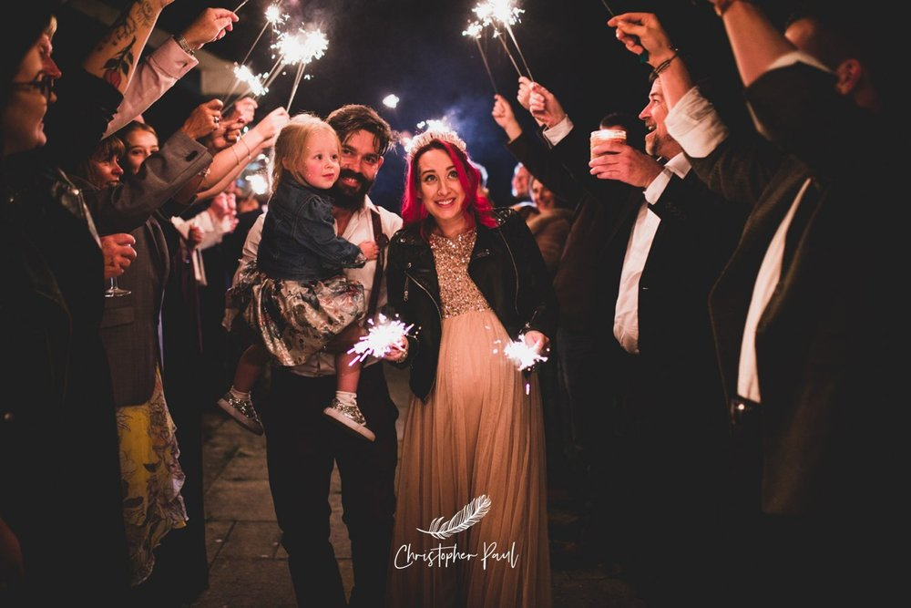 A perfect way to end your wedding day, with sparklers
