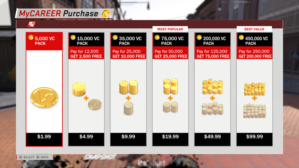 NBA 2K18's screen, and it's currency system of Virtual Coins, or VC. Introduced with NBA 2K13, it has become more and more aggressive over time, to now.