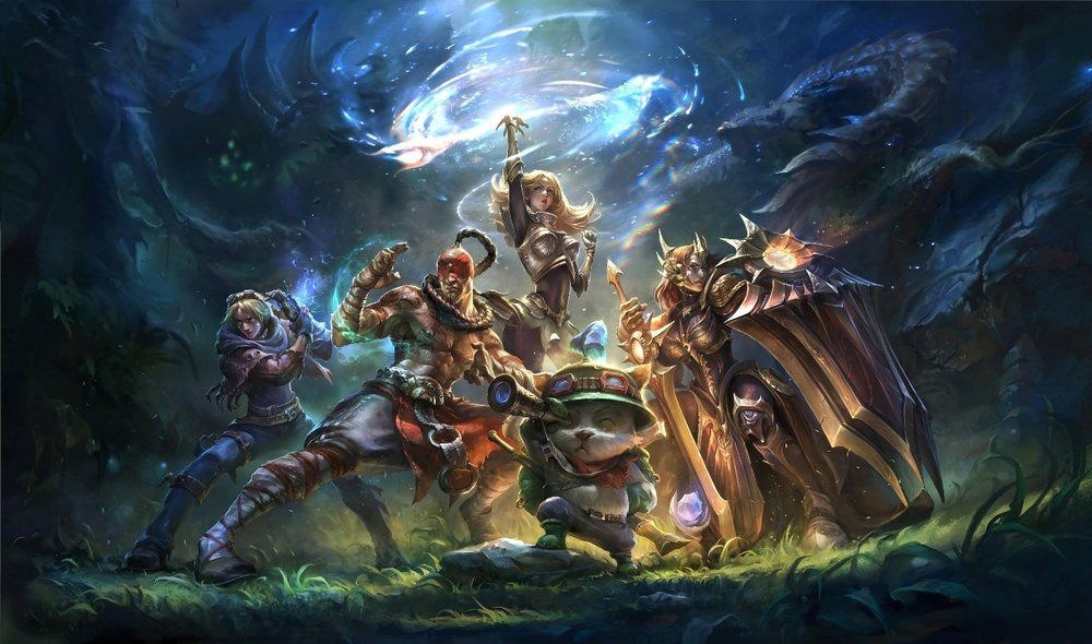 Justin asked that we use this picture, as he and his friends frequently play these champions. From Left to Right: Ezreal, Lee Sin, Lux, Teemo, and Leona.
