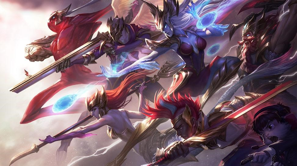 Art of the SKT 2016 Championship skins. This team famously won the League of Legends world championships an astounding 3 times and are a brilliant example of communication and success in gaming.