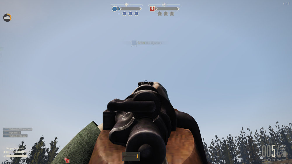 The K98k's sights. Keep in mind this is a best case scenario for contrast, looking at the sky. Aiming at anything on the ground, in bushes, or indoors is far harder to do.