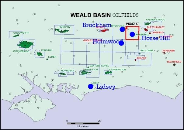 Weald basin oil fields