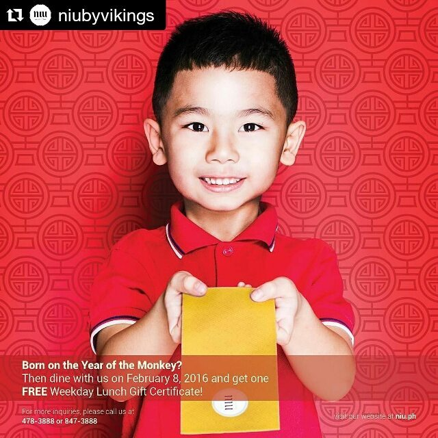hello aiden!  #Repost @niubyvikings 📷 @tofftiozon ・・・ To those born in the Year of the Monkey, this IS your year! Here are the mechanics:  1. All paying adults (dining on Feb. 8, 2016) born in the Year of the Monkey will receive one (1) weekday lunch gift certificate that can be used in their next visit at NIU.  2. Guest must bring a VALID and ORIGINAL government issued I.D. as proof that they are born in the Year of the Monkey.  3. Guest must be born in the following years to be eligible:  Feb.20,1920-Feb.7,1921 Feb.6,1932-Jan.25,1933 Jan.25,1944-Feb.12,1945 Feb.12,1956-Jan.30,1957 Jan.30,1968-Feb.16,1969 Feb.16,1980-Feb.4,1981 Feb.4,1992-Jan.22,1993 Jan.22,2004-Feb.8,2005  4. This promo is available on February 8, 2016 only.  5. This promo cannot be used in conjunction with any other promos and discounts.  6. For reservations or inquiries, please call 478-3888 or 847-3888.  #theniuexperience