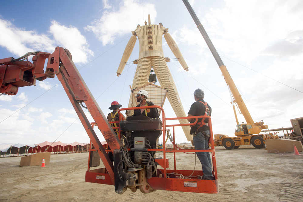 Boom lift at Burning Man