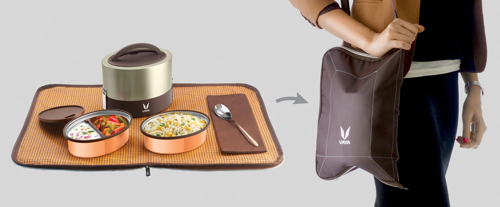 A clean and elegant lunch mat that turns into a convenient carryng bag.
