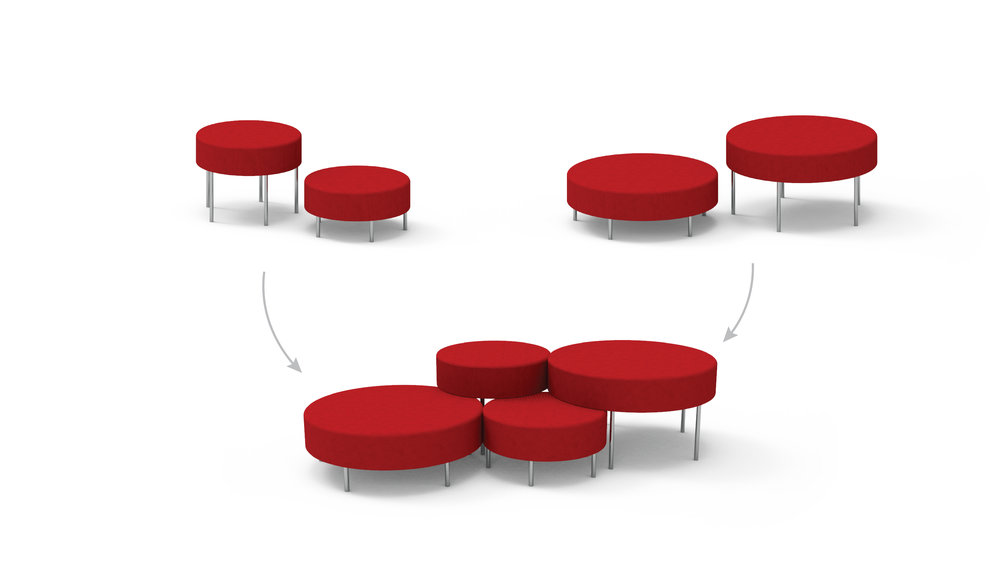 High and low seating can be combined into formations.