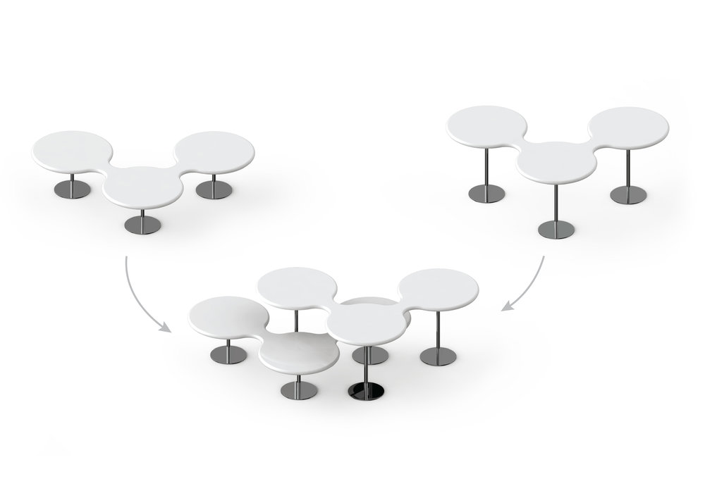 High and low tables can be arranged to fit together in groups.