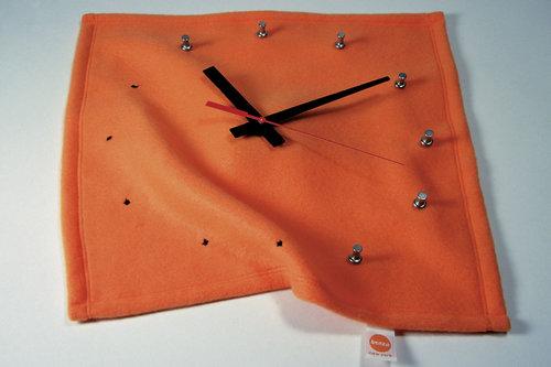 """Materials:  Polar fleece (or denim), clock movement, aluminum push-pins.   Dimensions : 300 x 300 x 40mm (12"""" x 12"""" x 1.5)"""