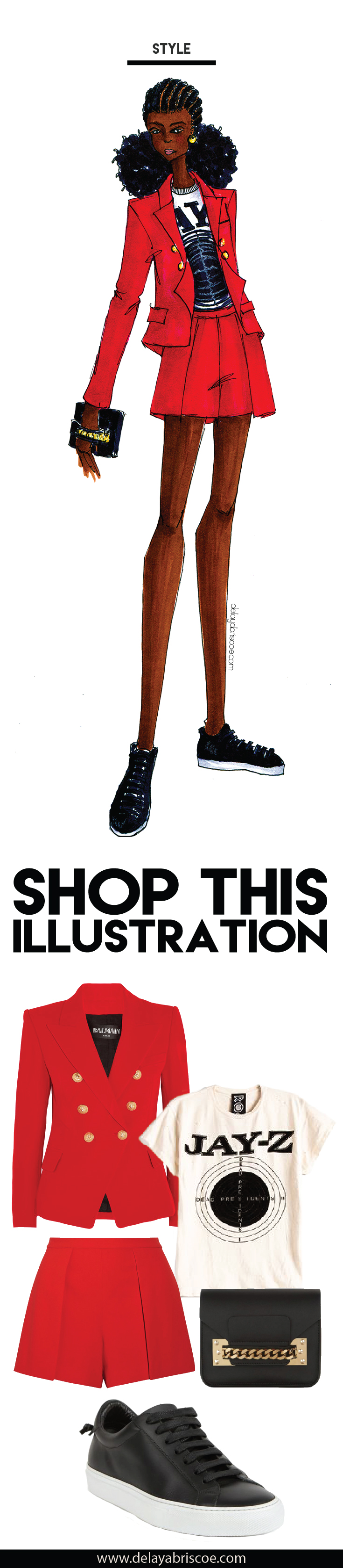 Fashion illustration created by Delaya Briscoe. Inspired by Jay-Z's, 4:44, I chose a Balmain blazer, concert tee, Alice and Olivia shorts and Givenchy sneakers to create a business casual look. For affordable alternatives, click the link.