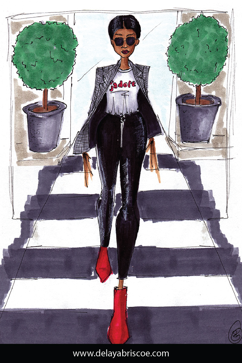 Fashion illustration by Delaya Briscoe using copic marker and inspired by instagram influencer, @hauteonlife, who is wearing a relaxed and comfortable street fashion for fall weather.