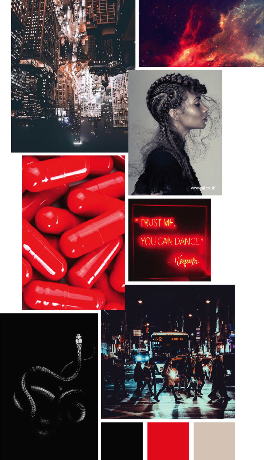 Fashion mood board by designer Delaya Briscoe inspired by night life. Fall style color palette of black, cream and red.