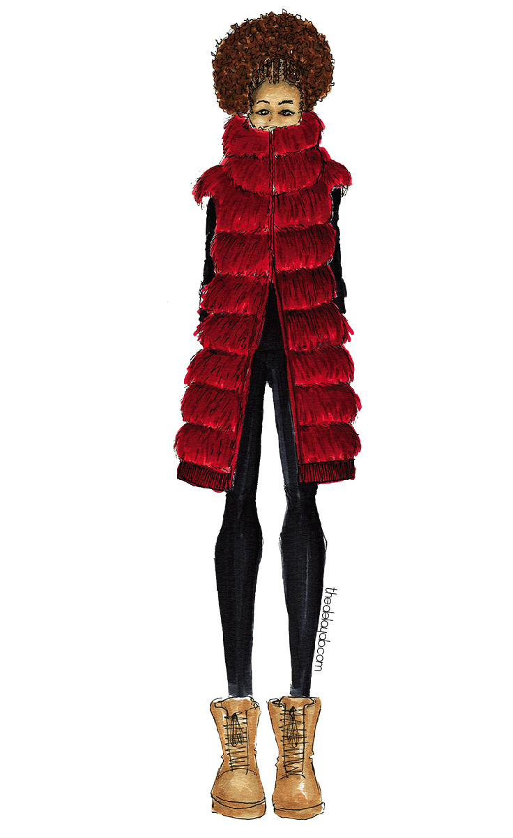 Fall style fashion illustrations by designer Delaya Briscoe inspired by the night life lights using fur vests and fur jackets and leather boots. (Black art, natural hair art)