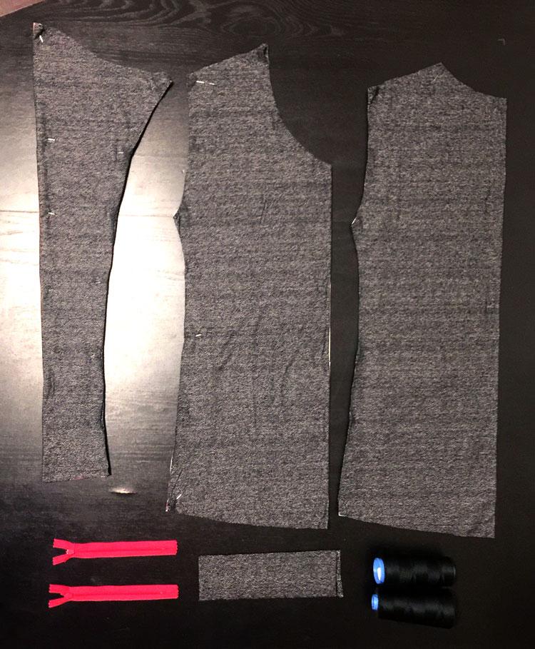 Fashion designer Delaya Briscoe, making a long sleeve t-shirt with zip up cuffs.