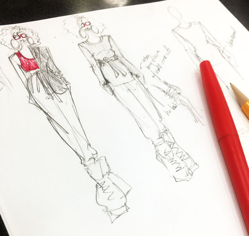 Design sketch from Delaya Briscoe as a part of the DIY Capsule Challenge when she designed a red sleeveless tank and long sleeve t-shirt with zip up sleeves.