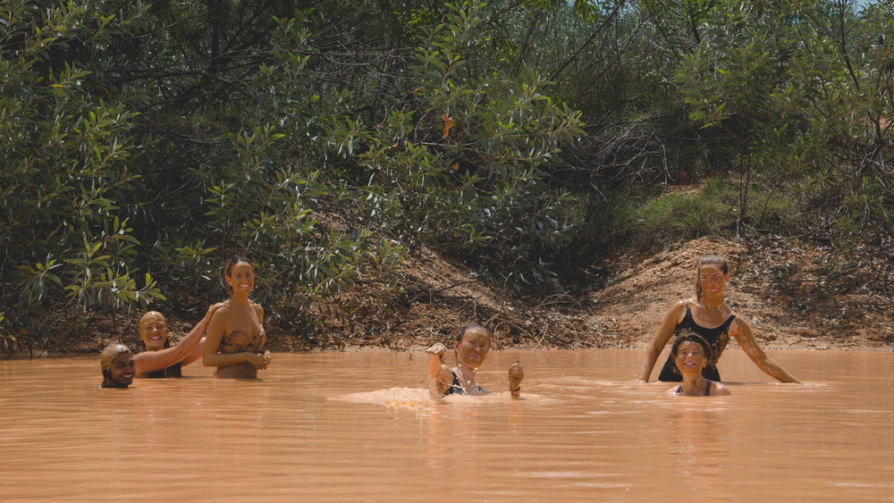 After a long day's work, the volunteers find respite in the Forest's own, natural mud pool.