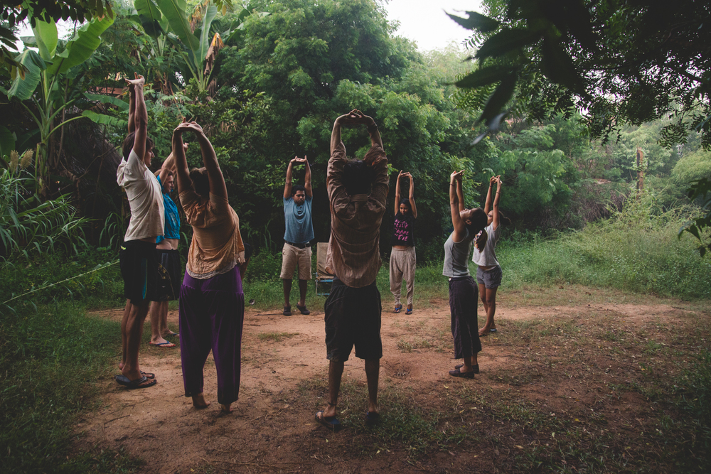 The morning circle where everyone gathers around to stretch and truly wake up.