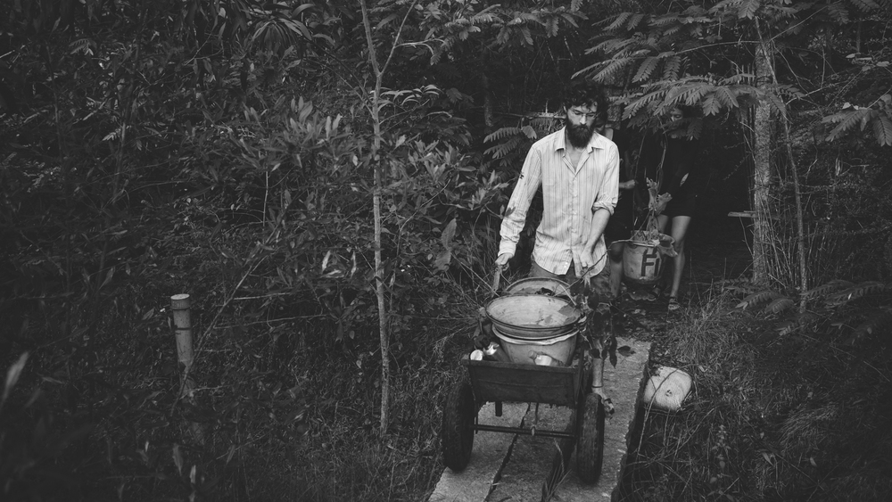 Laurent, the Frenchman in a lungi, is a true friend of the Forest. He is seen here bringing saplings from the nursery to the forest.