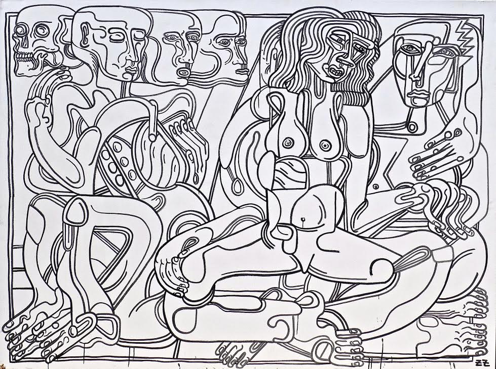 Zio Ziegler Choices 96 x 72 x 1.5 inches Krink Marker on Canvas