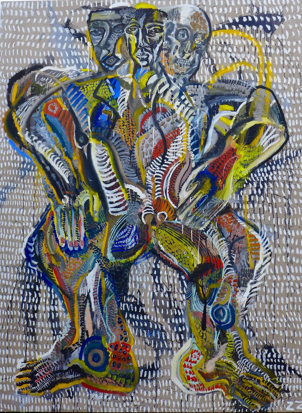 Zio Ziegler The Fertility God 72 x 96 x 1.5 inches Oil and House Paint on Canvas SOLD