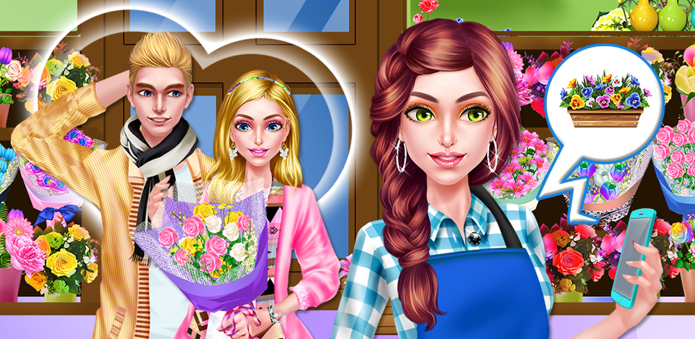 My Love Story: Flower Girl  Dress up yourself to look amazing when your crush comes by next and prepare a special bouquet for his order. Enjoy a relaxing spa to calm your nerves, then fix your makeup to highlight your best features.