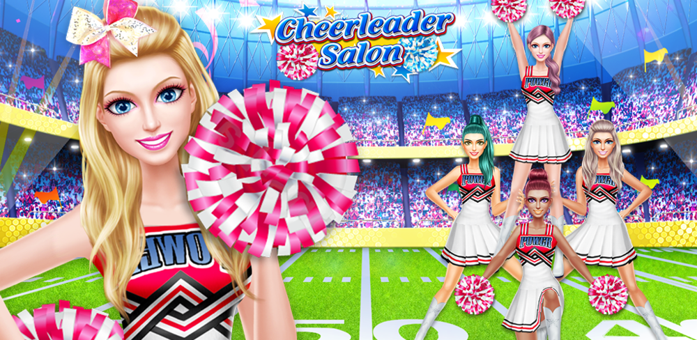 Cheerleader QUEEN - Girl Salon  Play with different kinds of makeup. Apply mascara, eyeshadow and lipstick in all different colors. Mix and match glittery looks with smouldering colors.